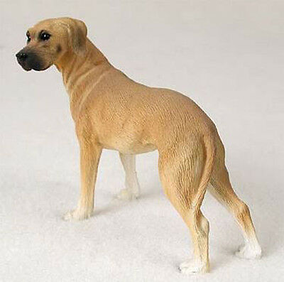 GREAT DANE Fawn UnCropped DOG Figurine Statue Hand Painted Resin Gift Pet Lovers