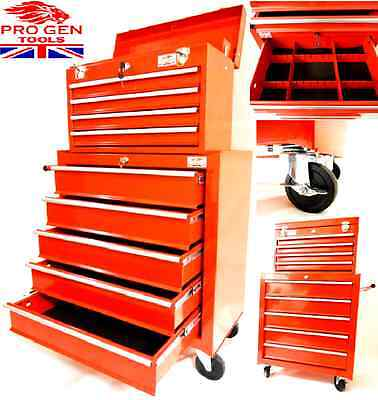 Progen Tools Red Affordable Tool Chest Rollcab Steel Box Roller Cabinet Model1