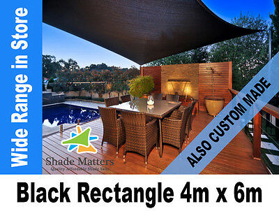 New Extra Heavy Duty Shade Sail- Rectangle 4m x 6m  Black Color also Custom Made