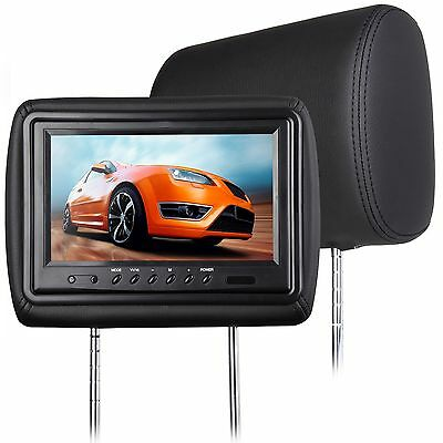 "2x 9""l Black Leather Car Digital Screen Headrest Monitor Pillow Headset Video HD"