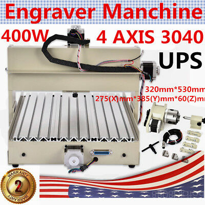 4AXIS CNC ROUTER 3040 Drilling/Milling MACHINE CARVING 3D CUTTER 400W+MACH3 USA