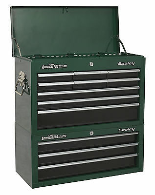 Sealey 12 Drawer Tool Storage Box Chest with Ball Bearing Runners Green