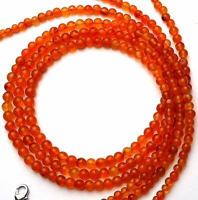 Super Quality Natural Gemstone Carnelian 3 to 5MM Round Beads Necklace 17""
