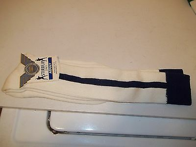 Moretz Sports Stirrup Socks 2 N 1 Adult - Sock Size 10-13 - Navy and White - NEW