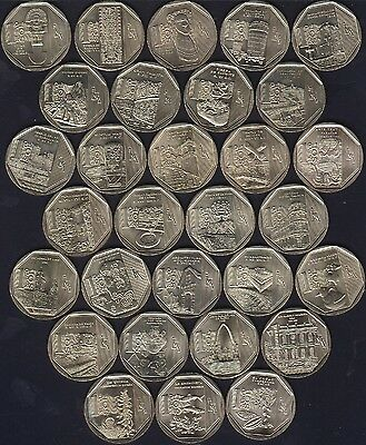 PERU 30 coins 1 Nuevo Sol 2010-16 UNCIRCULATED ALL COMMEMORATIVE