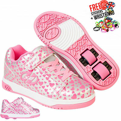 Heelys X2 Dual Up, Silver/Hearts Kids Wheeled Roller Skating Shoe Boots