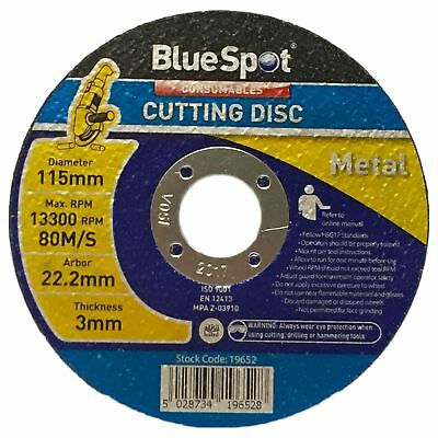"BlueSpot 115mm 4.5"" Metal Cutting Slitting Disc 3mm Thickness Alloy Steel"
