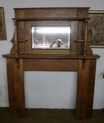 Outstanding Oak Large Fireplace Mantle Surround Beveled Mirror