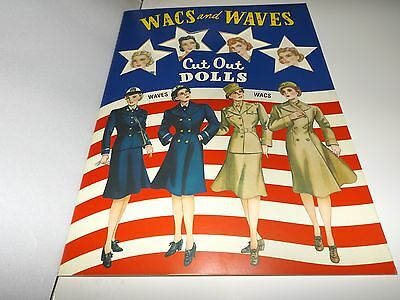 Vintage style Paper Dolls Wacs and Waves 1943 Military uncut Book Shackman