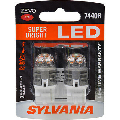 SYLVANIA ZEVO LED SUPER BRIGHT 7440R RED LED 12v 2.5W BULBS PAIR SET NEW NIB