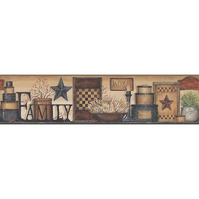 AC4341BD Country Keepsakes Family Shelf Wallpaper Border