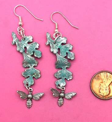 Antique Silver Pltd Brass W/patinated Leaf & Bee Design - 1 Pair