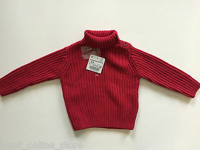 BNWT Zara Baby Red Jumper Top Size 6 - 9 Months (74cm) Buttons on Neck
