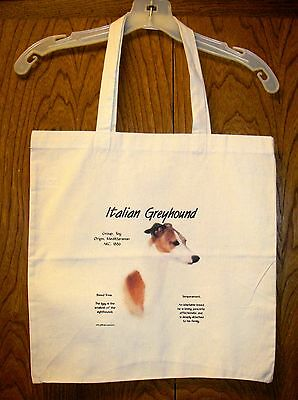 """ITALIAN GREYHOUND """"History of the Breed"""" Cotton Tote Bag / 15""""x15"""" / Full color"""