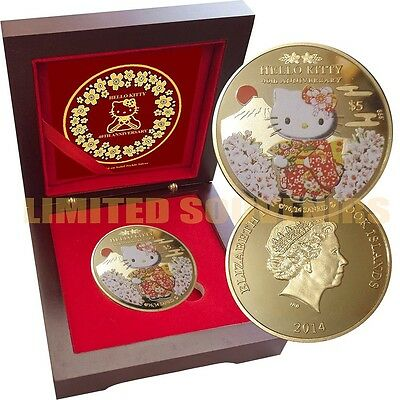 HELLO KITTY 1 oz Gold layered Proof Silver 40th Anniversary Coin Rosewood box