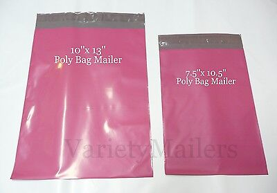 50 Pink Poly Bag Shipping Envelope Combo 10x13 & 7.5x10.5 Self-Sealing Mailers
