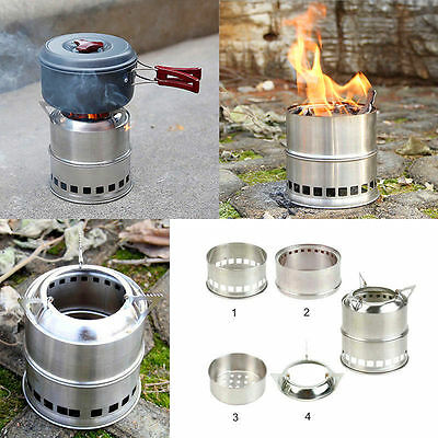 Outdoor Portable Wood Burning Backpacking Emergency Survival BBQ Camping Stove F