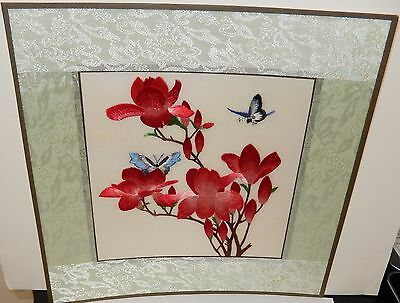 Japanese Silk Butterfly Blossom Tree Embroidery Tapestry Painting Unsigned