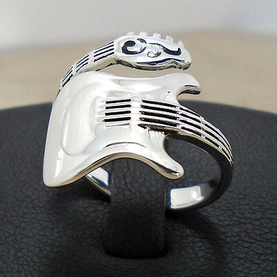 Electric Guitar Mus Instru 925 Sterling Silver Ring Size 6 to 9 Adj Wrap N S New