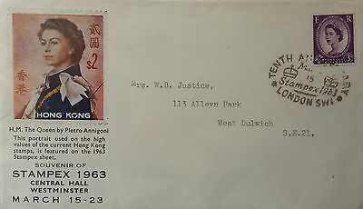 Great Britain 1963 Hong Kong Annigoni Stamp Illustrated London Stamp Expo Cover