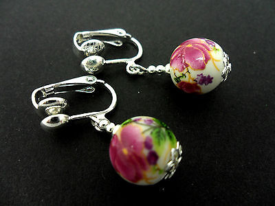 A Pair Of Lovely  Silver Plated Porcelain Flower  Bead Clip On Earrings. New.