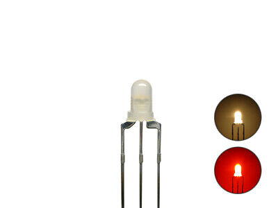 S434 10 Pcs DUO LEDs 3mm Bi-Color warm white red 3-pin