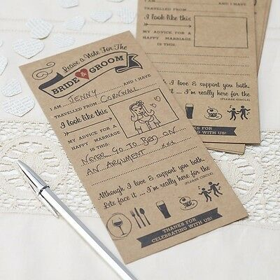 10 Advice For The Bride & Groom Cards - Alternative To A Guest Book