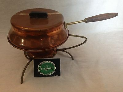 Vintage Hand Crafted Bongusto Copperware Fondue Pot w/Warmer for US Army - Italy
