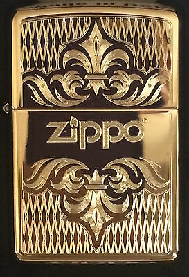 Zippo Windproof Brass Lighter With Regal Design & Zippo Logo, 51155, New In Box