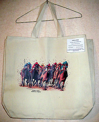 THOROUGHBRED HORSES & JOCKEYS (FULL COLOR)Coming&Going XL Cotton Canvas Tote Bag