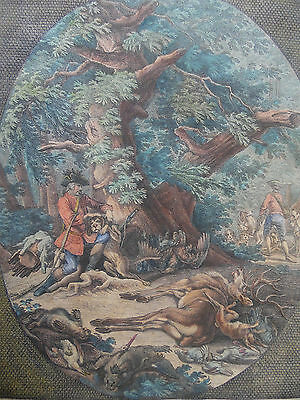 Ridinger C18th Hunting Sporting Scene H/Col Engraving