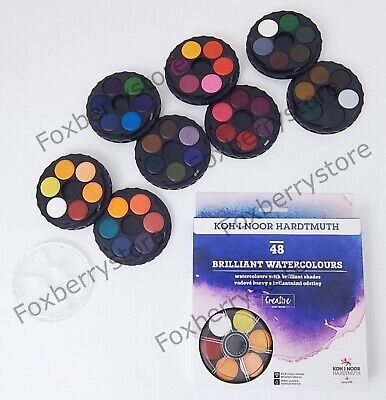 Brilliant DYE BASED Vibrant Watersoluble Paint Set KOH-I-NOOR Round Watercolors