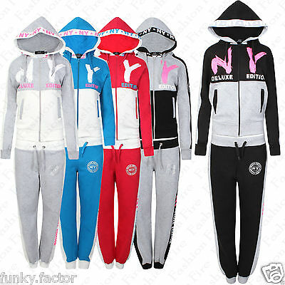 Women's Ladies NY Tracksuit in Contrast Panel Colours Bottom Sweatshirt UK 8-14