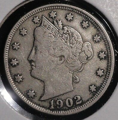 1902 Liberty V Nickel. Nice Collector Coin For Your Collection Or Set. Free Ship