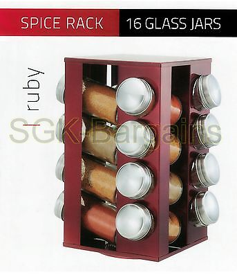 16Pc Revolving Spice Rack Storage Stand Spices Herbs With Holder Storage Red