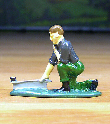 Pewter Railroad Figure Little People Track Worker Nos O / S Scale Train Layout