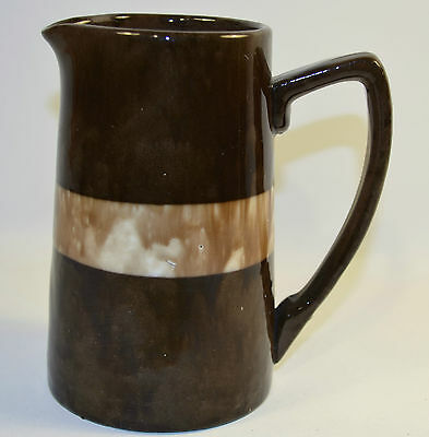 Creamer Milk Jug Pitcher Brown Beige Pottery Brown Stoneware