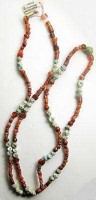 ANCIENT red carnelian & ROMAN faience beads_1st millenium BC