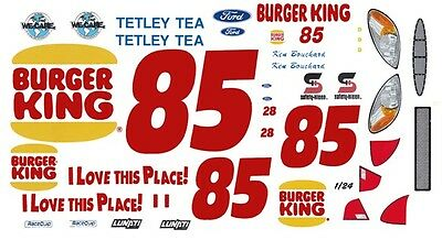 #85 Ron Bouchard Burger King FORD 1/24th - 1/25th Scale Waterslide Decals