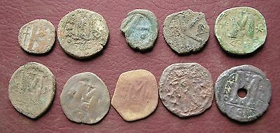 Authentic Ancient Artifact > Lot of 10 Unsearched Byzantine Follis Coins 14530