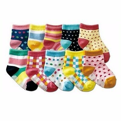 3 PAIRS BABY SOCKS kids boy girl anti slip sockettes grip toddler 0-24 Months