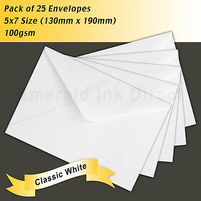 Envelopes Classic White 5x7 Size - 130mm x 190mm - Pack of 25