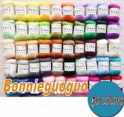 50 Colors Merino Wool Fibre Roving For Needle Felting Hand Spinning BIN 250G