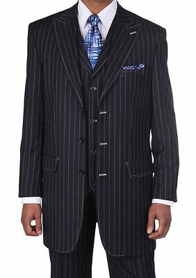 Men's 3 pcs Wool Feel Classic Gangster Pinstripe Suits with Vest 5903 Navy