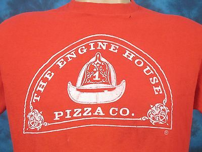 vintage 70s THE ENGINE HOUSE PIZZA CO. T-Shirt SMALL fire fighter thin 80s