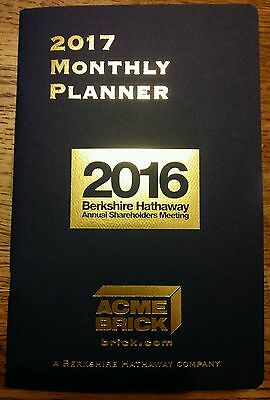 Berkshire Hathaway 2017 Annual Monthly Planner Shareholder Meeting held 4/30/16