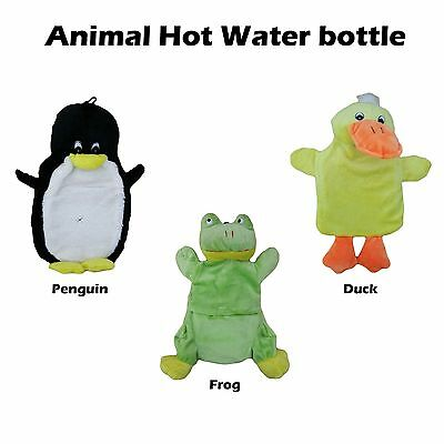 Animal Hot Water Bottle and Cover - Plush Material - Duck Penguin Frog