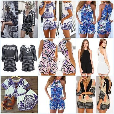 Women Summer Floral Clubwear Bodycon Beach Party Jumpsuit Romper Trousers Casual