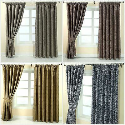 Floral Pencil Pleat Fully Lined Jacquard Damask Curtains Blue Gold Grey Purple