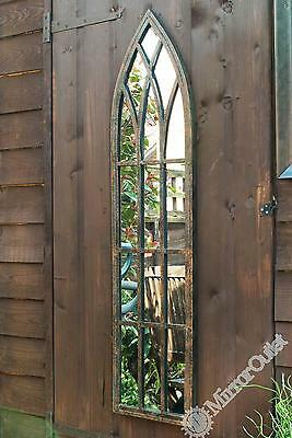 Metal Arched Rustic Outdoor Mirror Frost Protected 3ft3 x 9.5'', 100 x 24cm